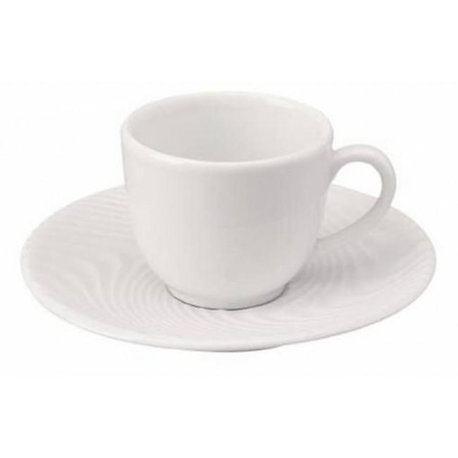 Soucoupe à café striée blanche