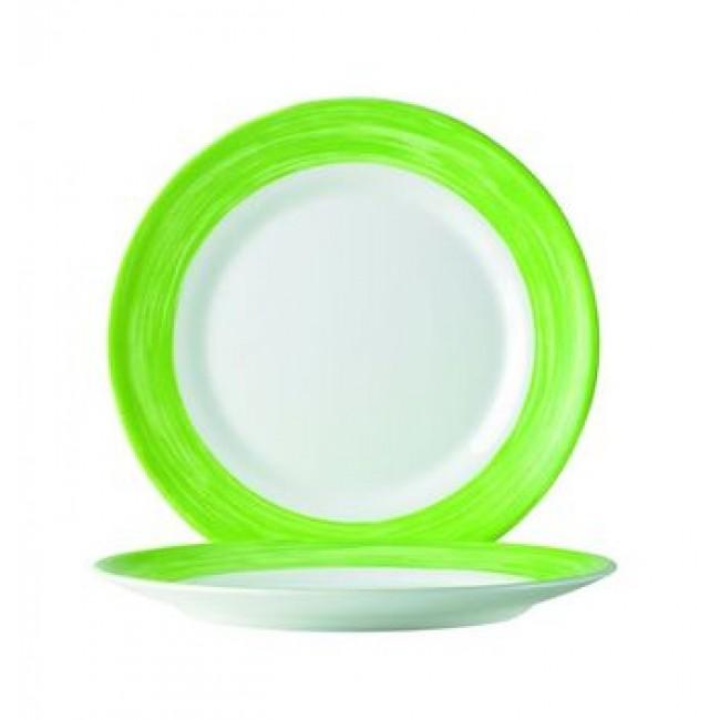 Assiette plate ronde blanche/verte 24cm