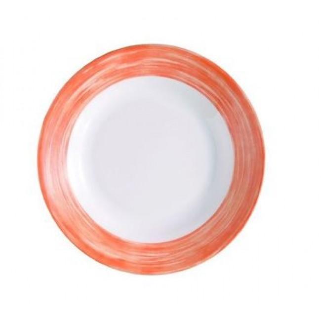 assiette plate ronde blanche/orange 24cm en arcopal - arcoroc