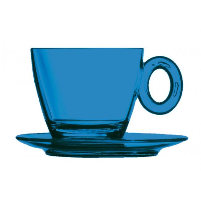 Tasse et sous-tasse à thé saphir 15cl en polycarbonate - Lot de 6