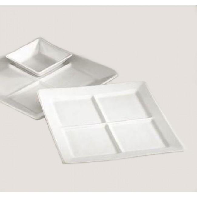 Assiette carrée 4 compartiments blanche 25cm en porcelaine - Quartet - Pillivuyt