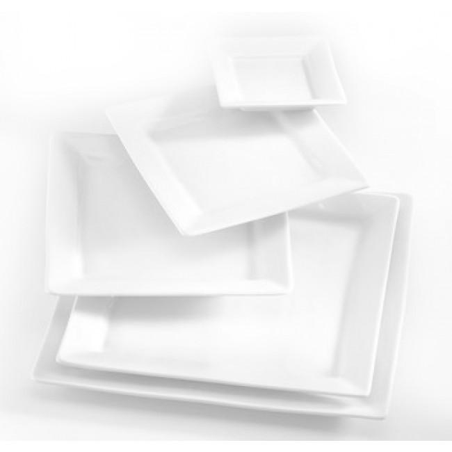 Assiette plate carrée blanche 29x29cm en porcelaine Quartet - Pillivuyt