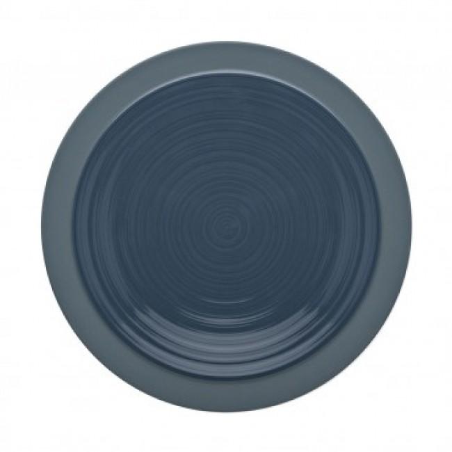 Assiette plate ronde 23cm bleu de roche en grès - A l'unité - Bahia - Guy Degrenne