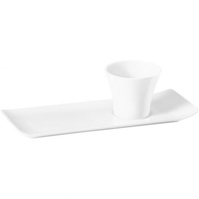 Plateau café gourmand rectangulaire blanc (sans gobelet) 22,1x8,6cm en porcelaine - Vendôme - Pillivuyt