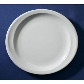 Assiette plate ovale blanche 23,5x21cm en porcelaine - Sarreguemines