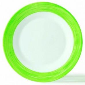 Assiette creuse ronde blanche/verte 23cm
