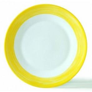 Assiette creuse ronde blanche/jaune 23cm