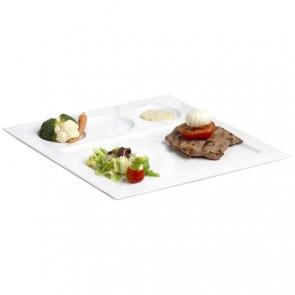 Assiette 4 compartiments plate carrée 29,5 cm blanche en porcelaine - Faro - Cosy & Trendy