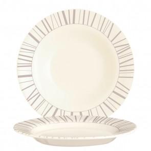 Assiette creuse ronde 22cm beige en zenix avec motifs baguette taupe - Intensity - Arcoroc
