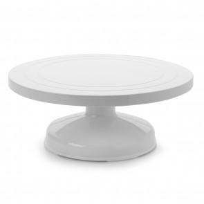 Base giratoire haute 31 x 12,5cm plastique blanc - patisserie - Ibili