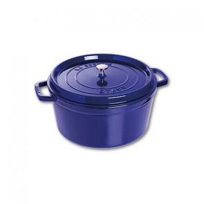 Cocotte en fonte ronde 30 cm bleu intense - Fondamentales - Staub