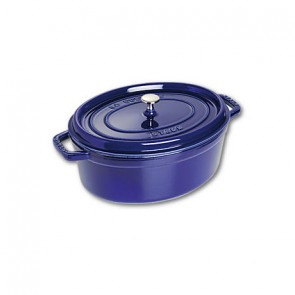 Cocotte en fonte ovale 31 cm bleu intense - Fondamentales - Staub