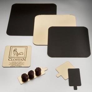 Carton carré or et noir  pour pâtisserie - 22 x 22cm - Lot de 50 - Carton à pâtisserie - AZ Boutique