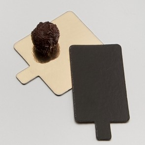 languette carree or et noire en carton pour patisserie - 8 x 8cm - carton a patisserie - az boutique