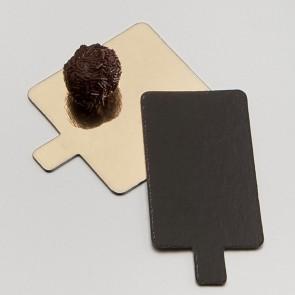 languette rectangle or et noire en carton pour pâtisserie - 5,5 x 9,5cm - carton a patisserie - az boutique