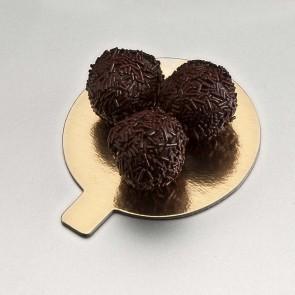 languette ronde or et noire en carton pour patisserie - 8cm - carton a patisserie - az boutique