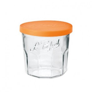 Lot de 6 pots à confiture en verre 445ml couvercle orange 82mm + paraffine - Confiturier - Le Parfait