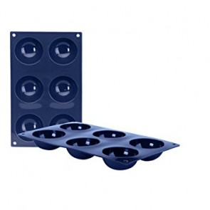 Moule flexible en silicone bleu - 6 demi-sphères - Ibili