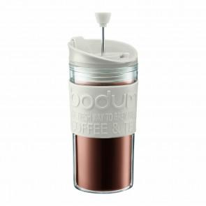Mug à piston en plastique double paroi 35cl blanc crème - Travel Press - Bodum