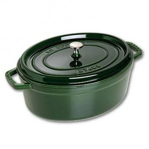 Cocotte en fonte ovale émaillée 33 cm vert basilic - Vitamines - Staub