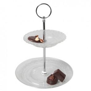 Présentoir à gâteaux 2 niveaux 13cm / 18cm - hauteur 23,5cm - Retro - Cosy & Trendy