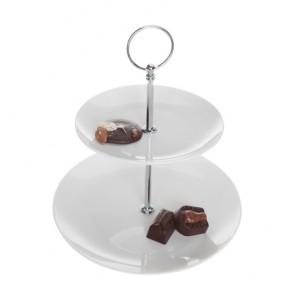 presentoir gateaux 2 niveaux 15x20,5cm en porcelaine hauteur 24cm buffet cosy & trendy