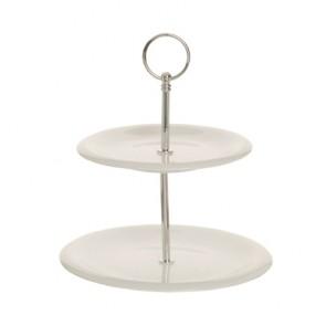 presentoir gateaux 2 niveaux 17x21cm en porcelaine hauteur 24cm buffet cosy & trendy