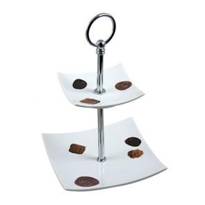 presentoir gateaux motifs 2 niveaux 15x15cm en porcelaine hauteur 24cm buffet cosy & trendy