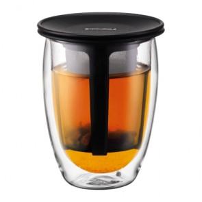 Set de verre double paroi 35cl avec filtre en nylon noir - Tea for One - Bodum
