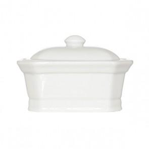 Terrine pâté rectangulaire avec couvercle blanche 13x10cm en porcelaine - Cosy and Trendy