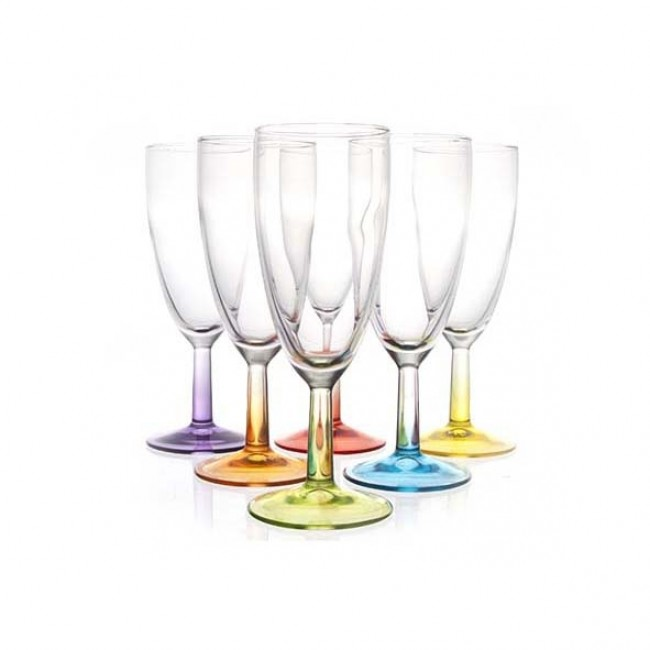 Flûte à champagne 14 cl en verre 6 coloris - Lot de 6 - Crazy Colors - Luminarc