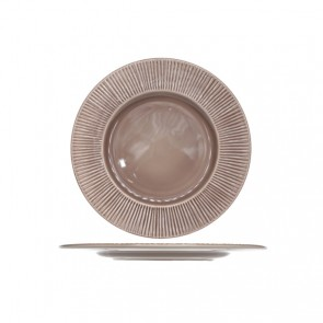Assiette plate ronde taupe patine 28cm - Epis - Cosy & Trendy