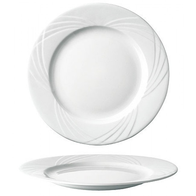 assiette plate ronde blanche 27cm en porcelaine sarreguemines. Black Bedroom Furniture Sets. Home Design Ideas