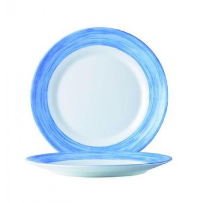 assiette plate ronde blanche bleue 24cm en arcopal arcoroc. Black Bedroom Furniture Sets. Home Design Ideas